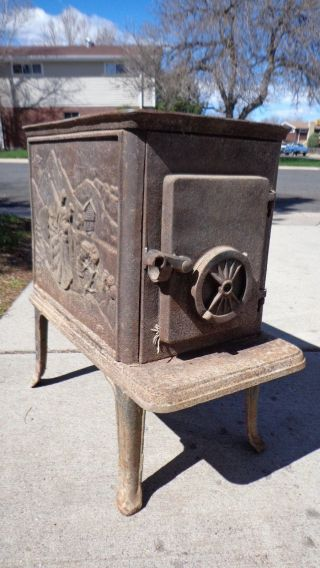 Antique Cast Iron Wood And Coal Burning Stove,  Gorgeous Spanish Couple Very Rare photo