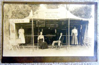 Vintage Real Photo Post Card Guest Piano Co.  Tent Display Burlington Iowa photo