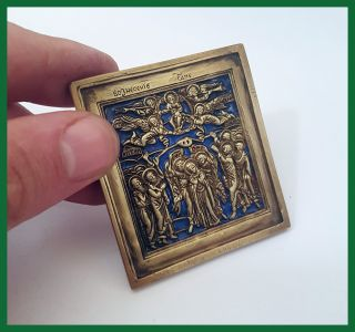 Russia Orthodox Bronze Icon The Ascension.  19th Century.  Enameled photo