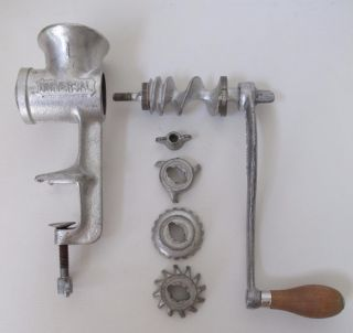 Vintage Universal 1 Meat Grinder Food Chopper Hand Crank Tabletop Complete photo