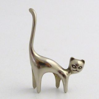 Art Deco Miniature Silver Figure Of A Cat photo