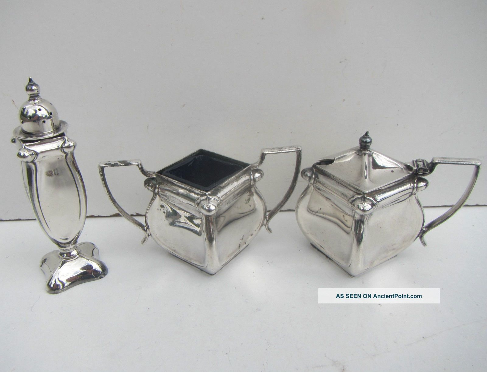 Vintage Silver Plate Salt Pot,  Pepper Shaker And Mustard Pot Salt & Pepper Cellars/Shakers photo