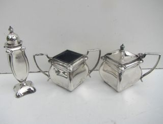 Vintage Silver Plate Salt Pot,  Pepper Shaker And Mustard Pot photo
