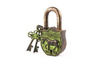 Royal Horse Themed Antique Hand Built Vintage Style Padlock Lock W 2 Keys Bl 017 photo