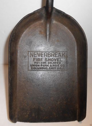 1926 Neverbreak Forged Steel Fire Shovel By Union Fork & Hoe Co. photo