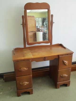 Vintage Desk Vanity & Mirror Maple Wood Dresser & Mirror 4 Drawers 42x17x30 photo