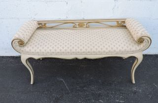 French Rolled Arm Distressed Painted Upholstered Long Vanity Bench 7573 photo