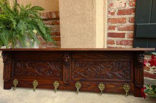Huge Antique French Carved Oak Wall Shelf Coat Rack Bookshelf Architechural photo