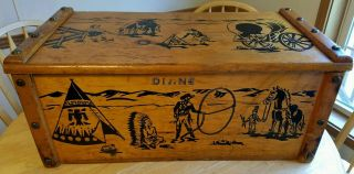 Vintage 50 ' S Cowboys Toy Chest Western Wooden Box Indians Trunk Hazel Cabinet Co photo