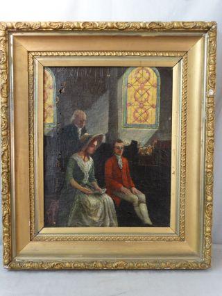 19thc Antique Victorian Era Lady & Gentleman Interior Scene Church Oil Painting photo