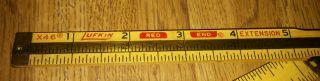 Vtg X46 Lufkin Red End Extension Folding 6 ' Ruler - Brass & Wood photo