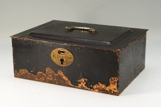 Japanese Antique Portable Iron Safe Cash Box Inside Wooden Box 648k17 photo
