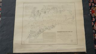 Small Antique Nautical Chart Of Fisher ' S Island Sound - York photo
