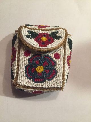 Antique Native American Beaded Purse Pouch Bag Floral Glass Cigarette Mexico 50 photo