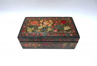Antique Kashmiri Lacquered Wooden Box - Early 20th C - India/persian/islamic/turkish photo