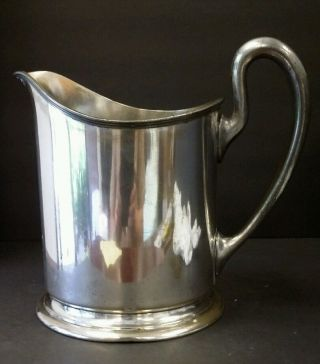 Antique Large Silverplate Pitcher By Wb Mfg 8.  75