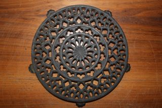 Griswold 7 Inch Dia.  Old Lace Design 1739 Coffee Pot Trivet Cast Iron Cookware photo