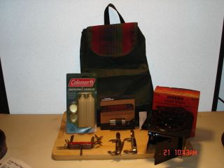 Camping Equipment - Marlboro Mini Lite,  Backpack,  Sterno Stove,  Candles Pkt Knifes photo