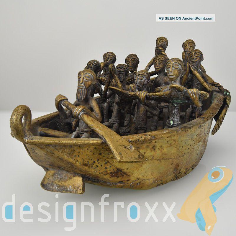 Large African Bronze Boat Figurine Statue Tribal Benin Ashanti Dogon Ghana 20thc Sculptures & Statues photo