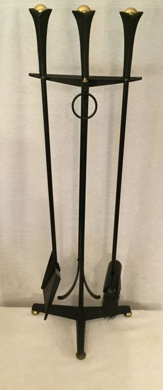 Donald Deskey Wrought Iron Fire Tools On Tripod Stand For Bennett Co. photo