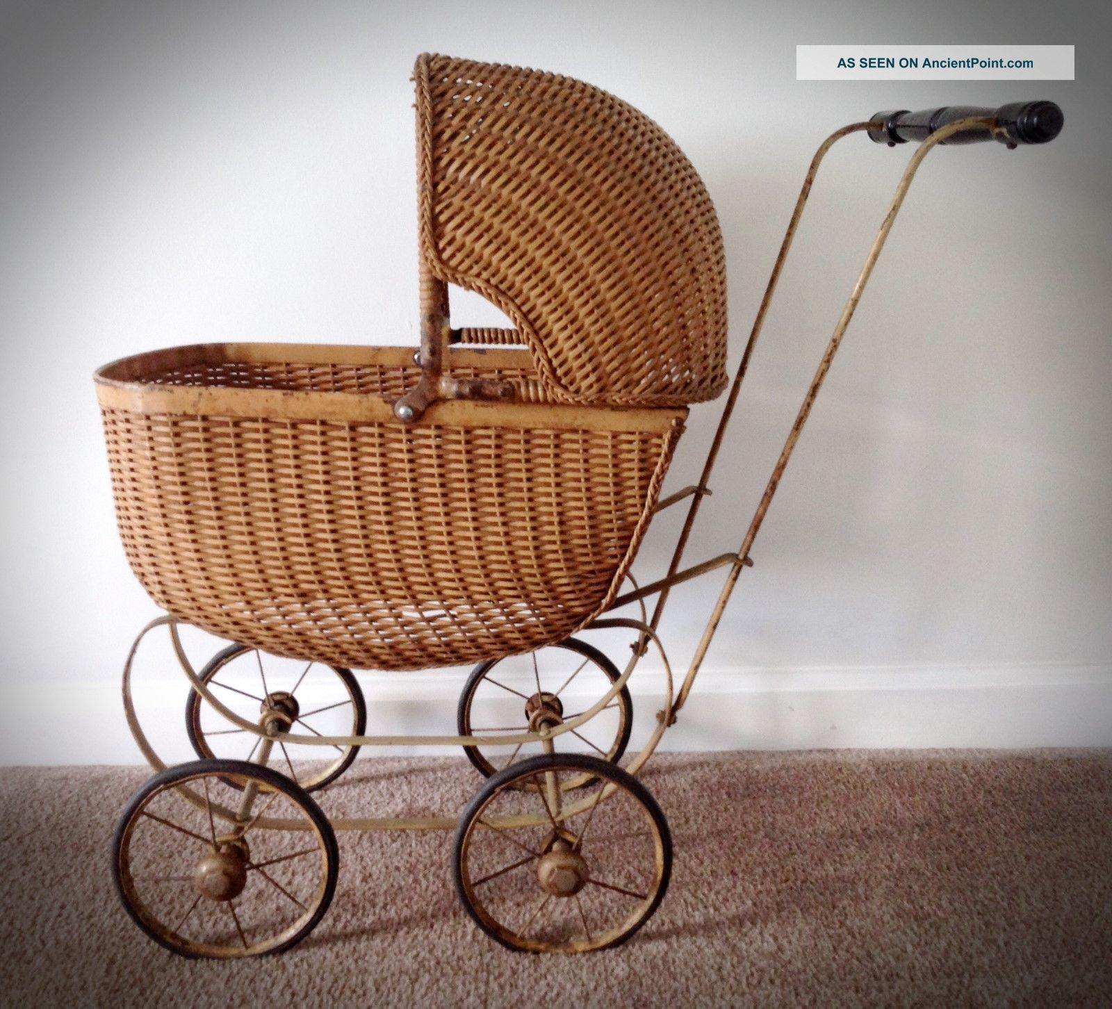 Antique/vintage Wicker Doll Baby Carriage Early 1900s Baby Carriages & Buggies photo