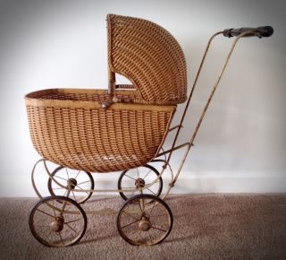 Antique/vintage Wicker Doll Baby Carriage Early 1900s photo