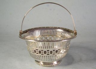Little Old Sterling Silver Gorham Reticulated Ornate Footed Swing Handle Basket photo