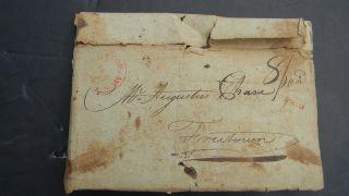 1803 Stampless Letter W Boston Postmark To Augustus Chase - Schooner Harriot photo