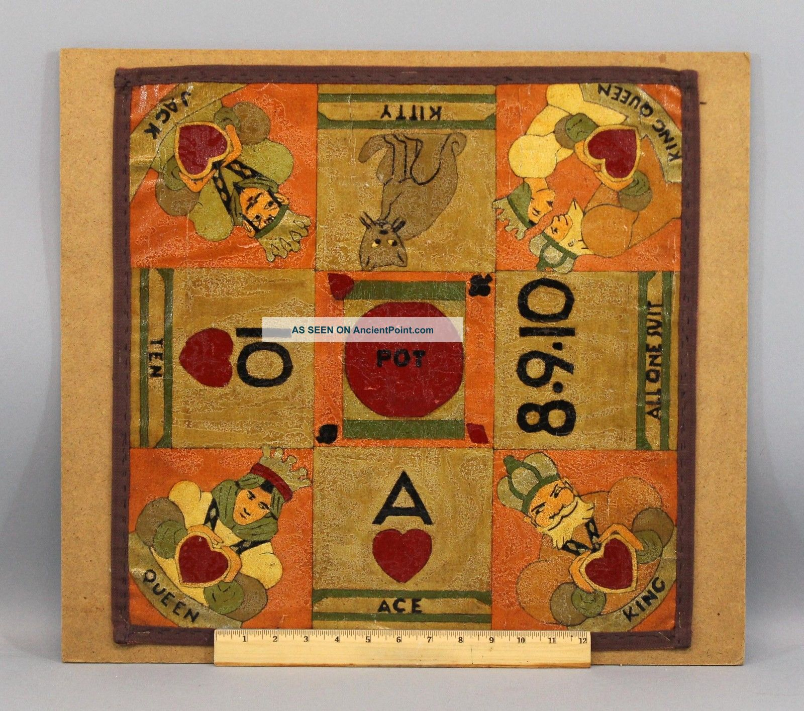 Antique Circa 1920s Folk Art Painting Canvas Card Game Sailors Gameboard,  Nr Folk Art photo