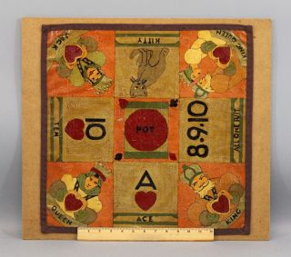 Antique Circa 1920s Folk Art Painting Canvas Card Game Sailors Gameboard,  Nr photo