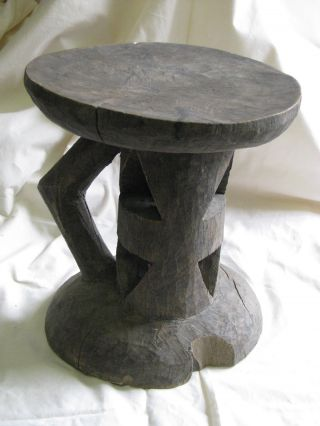 Antique Congolese Carved Wooden Stool,  Simple Geometric Pattern & Handle C 1850 photo
