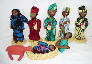 9x Piece 20c African Zaire Tribal Folk Dolls