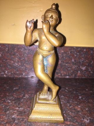 Indian Brass Figure / Statue,  Krishna W/ Arms Raised,  Lotus Base,  19th Century photo