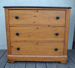 Antique Pine Dresser With Painted Black Top photo