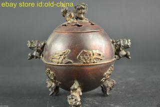 China Collectible Old Copper Ball Inlay Dragon Phoenix Lion Decor Incense Burner photo