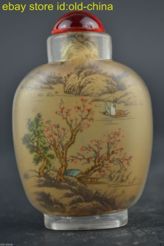 Collectible Old Peking Folk Glass Inside Painting Landscape Decor Snuff Bottle photo