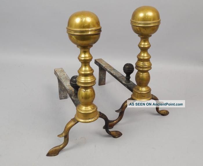 Fine Pair Antique Early 19c Hand Wrought Brass Iron Andirons Aafa Hearth Ware photo