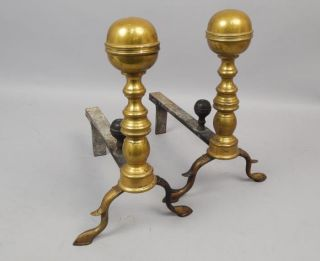 Fine Pair Antique Early 19c Hand Wrought Brass Iron Andirons Aafa photo