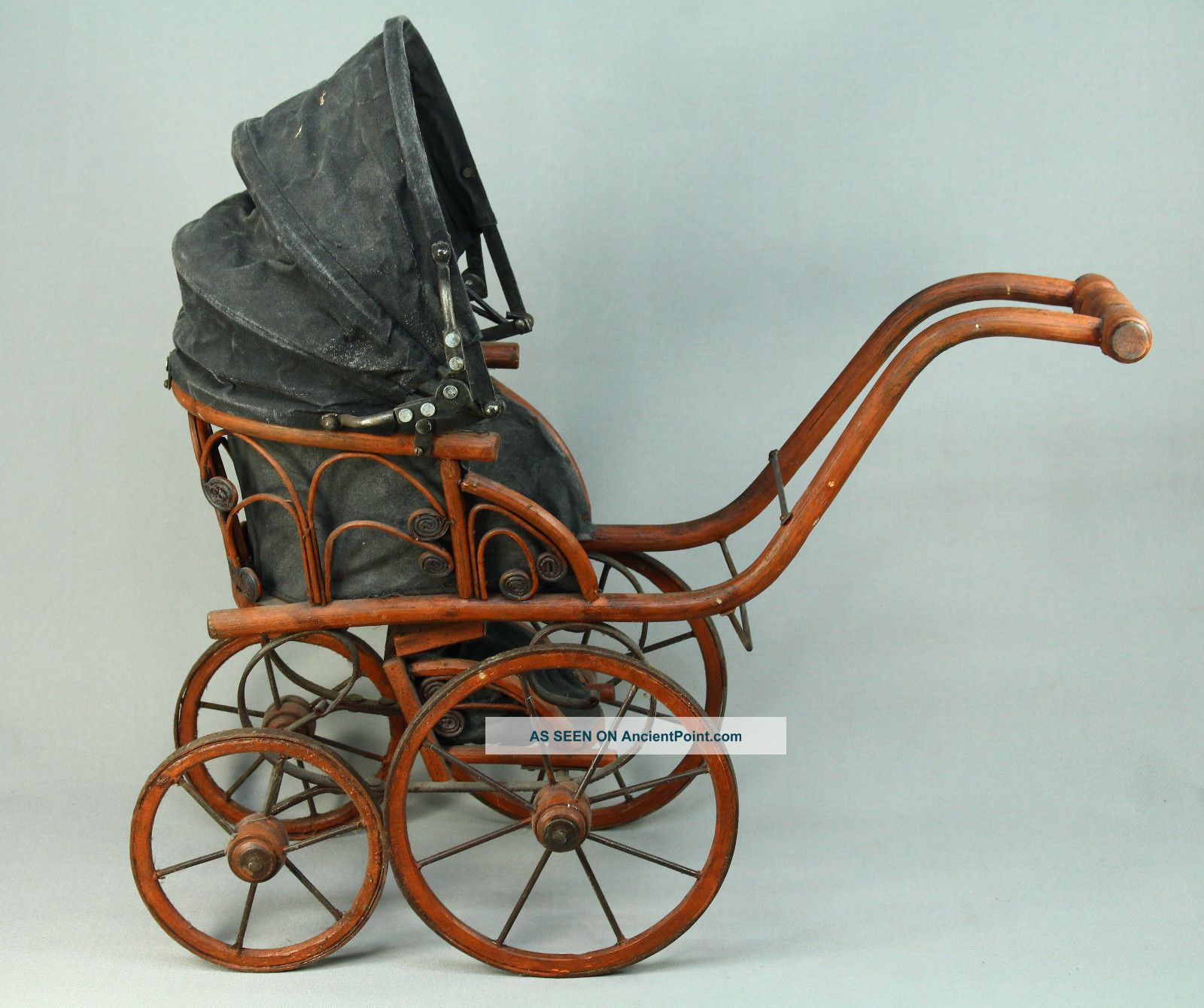 Antique Children ' S Doll Carriage Buggy Baby Stroller Rattan Wicker Baby Carriages & Buggies photo