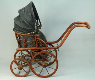 Antique Children ' S Doll Carriage Buggy Baby Stroller Rattan Wicker photo