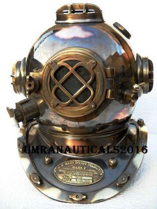 Vintage - U - S - Navy - Divers - Diving - Helmet - Mark - V - Full Size Vintage Scuba Helmet 18
