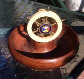 Vintage Ss Strathmore Ships Wheel Nutcracker Wooden Bowl Nautical photo