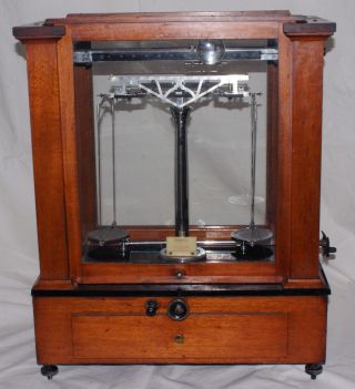 Antique Analytical Scale Balance Beam Jeweler Apothecary Magnifier Voland & Sons photo