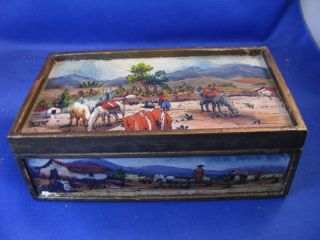 Vintage Bolivian Wood Box With Reverse Glass Painting Insets And Lid photo