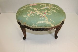 French Louis Xv Hand Carved Walnut Oval Footstool Foot Stool,  C.  19th photo