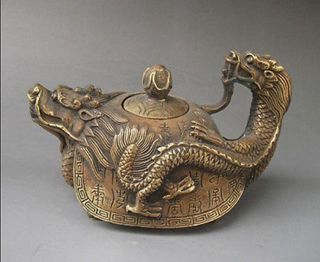 5.  98 Inch / Rare Oriental Copper Signed Carved Dragon Teapot Statues photo