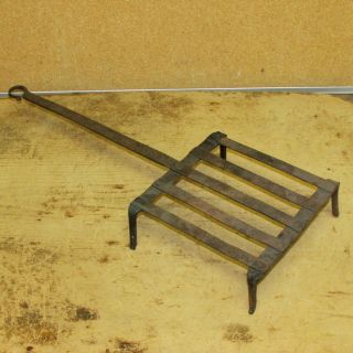 Late 18th C Wrought Iron Standing Broiler Or Gridiron Old Surface photo