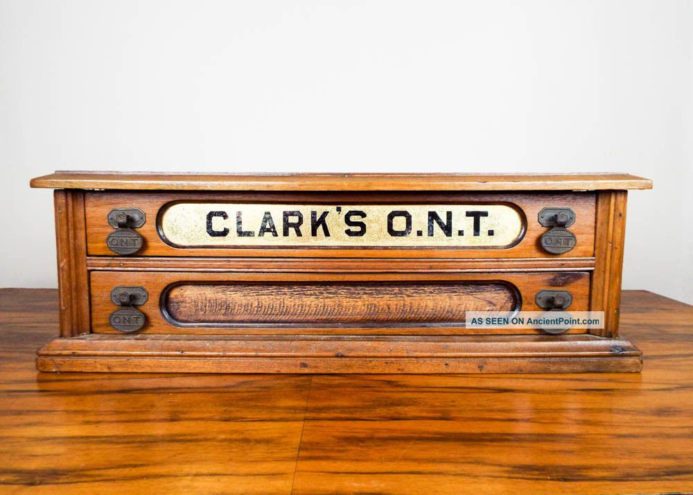Antique Clarks Ont Wooden 2 Drawers Sewing Spool Display Storage Cabinet Box Furniture photo