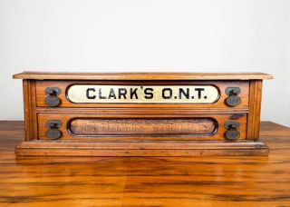 Antique Clarks Ont Wooden 2 Drawers Sewing Spool Display Storage Cabinet Box photo