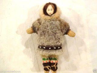 Antique Eskimo Inuit Seal Skin Doll Vintage Fur Native American Tribe Vintage photo